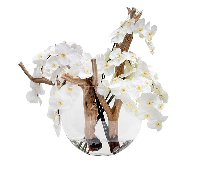 White Orchids with Vine on Glass Moon Base
