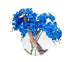 Blue Orchids with Vine on Glass Moon Base