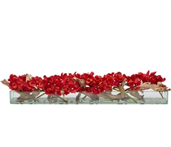 Modern Glass plate vase with driftwood and cymbidium orchids- RED 48""