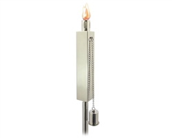 Polished Stainless Steel Lawn Torch Rectangular -Set Of 2
