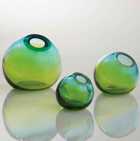 Ombre Ball Vase Aqua/green