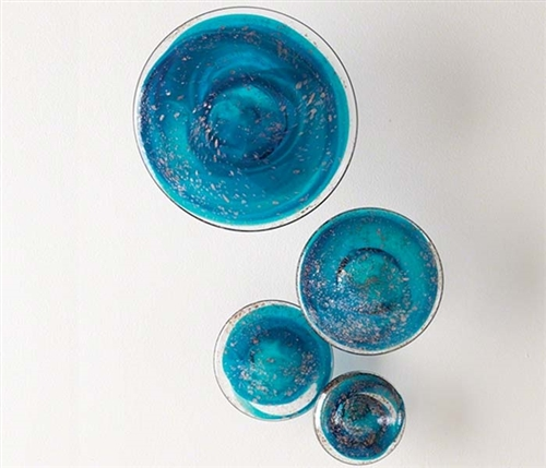 Glass Wall Mushrooms Set of Four - BLUE Modern Accessorie