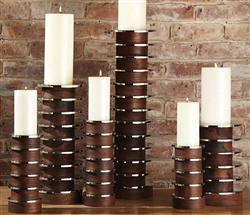 Short Stacked Plate Modern Candle Holder - MEDIUM