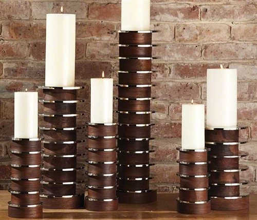 Short Stacked Plate Modern Candle Holders