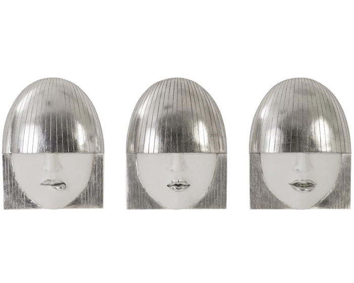 Fashion Faces Wall Art, White and Silver Leaf, Set of 3