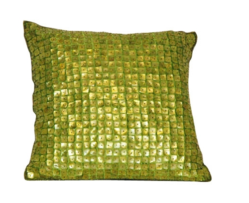"Mother of Pearl Decorative Modern Pillow - 16"" x 16"" GREEN"