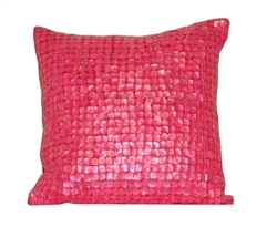 "Mother of Pearl Decorative Modern Pillow - 16"" x 16"" PINK"