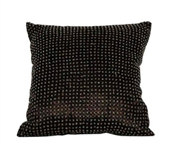 "Beaded Decorative Modern Pillows - 16"" x 16"" BLACK"