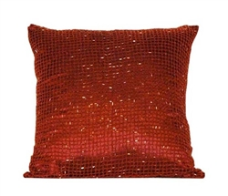 "Beaded Decorative Modern Pillows - 16"" x 16"" RED"