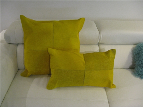 Hide Leather Modern Pillow Yellow