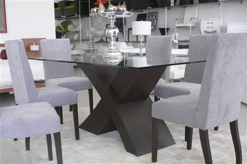 Impressive large espresso/white or black and glass Sergovia Dining Table is a work of art