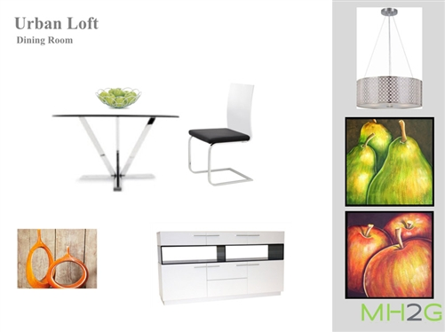 Modern styling defines this table with fabulous round glass top and innovative steel base. Elegant Urban Loft Dining Package
