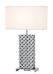 Hartford White Shade Modern Table Lamp - FLOOR SAMPLE DORAL/NPLS