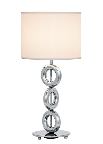 Elegance really stacks up with the Seneca Lamp. Three polished chrome rings stack one on top of the other, creating a smooth visual line all the way up to a black or white linen shade.