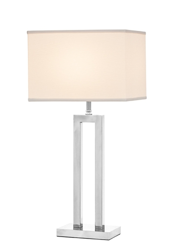 The Casale table lamp features a chrome plating finish and white fabric shade.