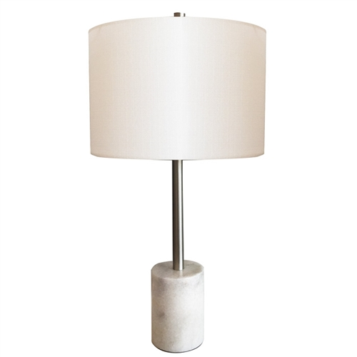 Blythe Modern Table Lamp with White Linen Shade and Marble Base