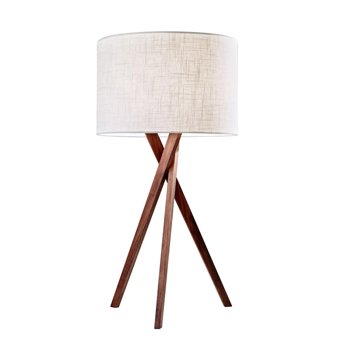 Brooklyn Modern Lamp Lamp. A sleek light walnut tripod base suits a variety of settings from contemporary, rustic, transitional to loft style. Special order item
