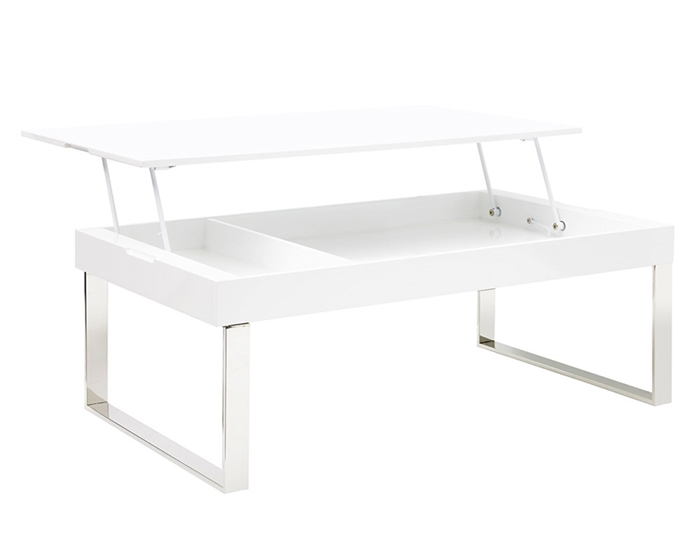Gorgeous and functional, this lift top white lacquered table keeps your living area tidy