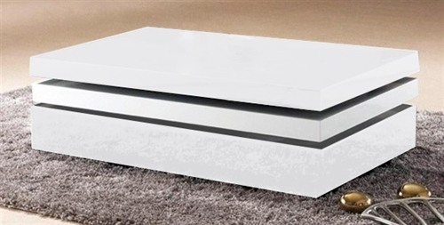 A remarkable piece of craftsmanship has generated this elegant white and black or all white rectangular coffee table which swivels around to reveal hidden storage beneath.