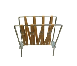 Rider's Modern Stainless Steel Magazine Rack with leather accents