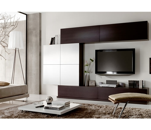 This contemporary and functional wall unit is finished in Wengue veneer and high gloss beige lacquer finish and provides plenty of space for a wide screen TV.