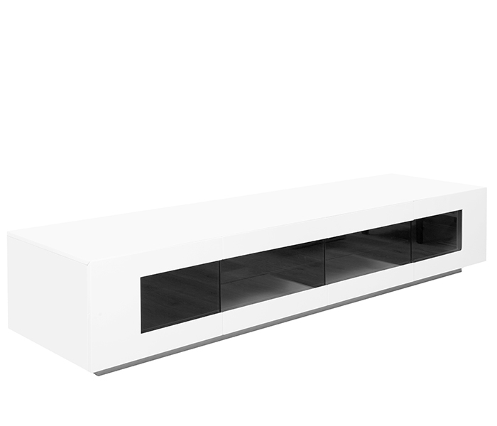 The Veroli TV Unit is a spacious TV Unit to complete your entertainment room. It is available in high gloss white lacquer with a grey tempered glass front.