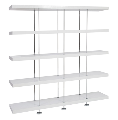 Modern white Crocodile Pattern Shelving with stainless steel legs