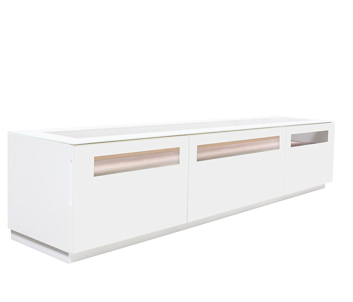 Lucano Modern TV Unit in Grey Lacquer with white glass