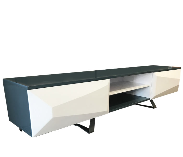 Agira Modern TV Unit in Blue and White lacquer