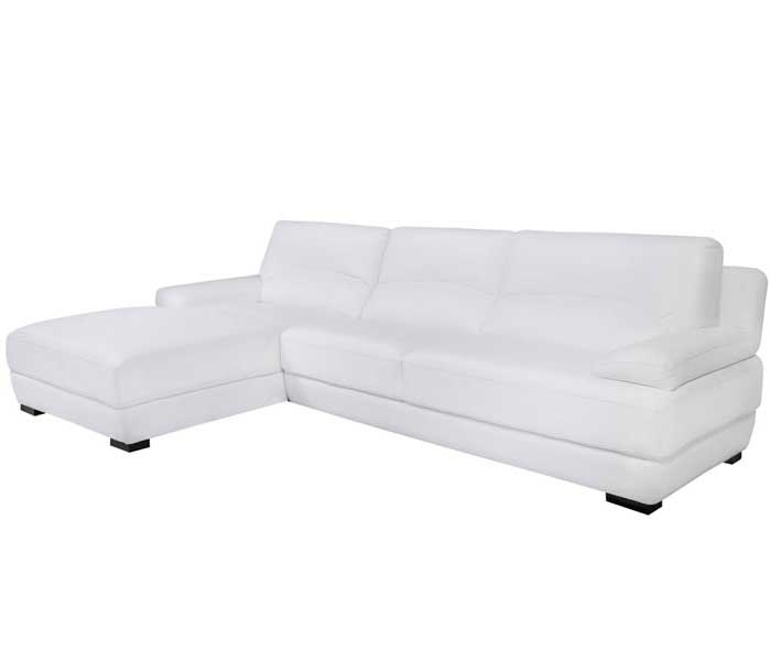 Papoli Modern Sectional in White Leather Left Facing Chaise