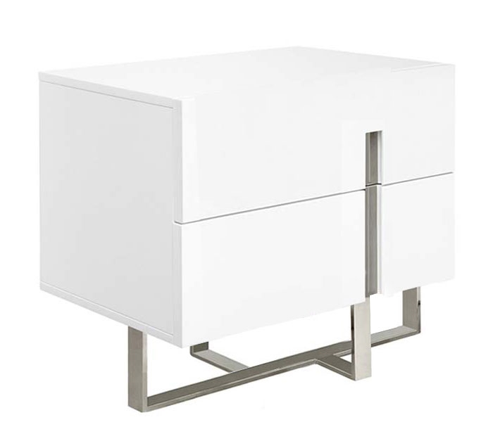 Lugo Modern Two Drawer Side Table White Lacquer   FINAL SALE, NO RETURNS