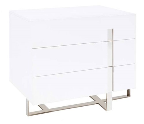 Lugo  Modern Three Drawer Side Table in White -- OUTLET-- FINAL SALE---