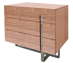 Lugo Modern Side Table in Walnut Three Drawers