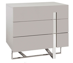 Lugo Modern Three Drawer Side Table Grey Lacquer
