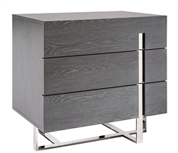 Lugo Modern Three Drawer Side Table Grey Oak