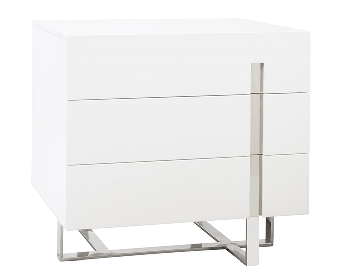 Lugo Nighstand in white lacquer available at MH2G