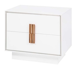 Portofino Modern Side Table in White  with white handles