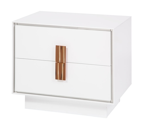 Modern white lacquer Side Table with yellow horn handle.