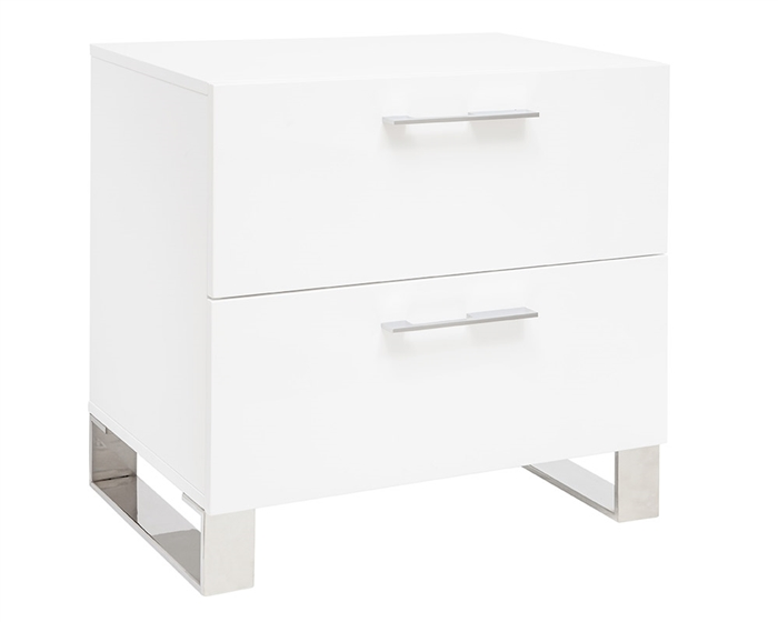 This modern Side Table has two soft closing drawers with stainless steel handles and legs. Available in white lacquer.