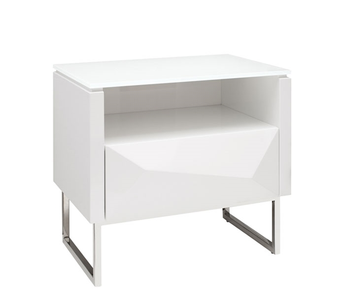 Chiesa Modern Side Table In White Lacquer