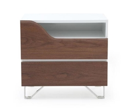 Bari Modern Side Table in Walnut and White