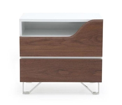 Bari Modern Side Table in Walnut and White Outlet
