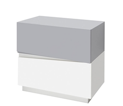 Salerno Modern Side Table in White and Grey