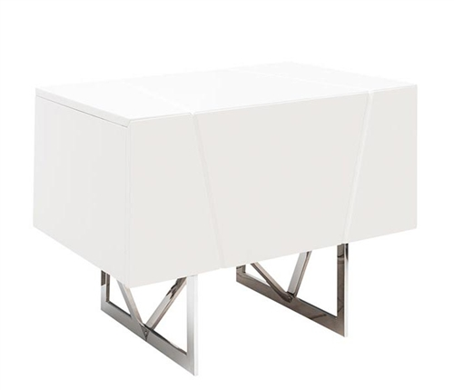 Bellagio Modern Side Table in White Lacquer