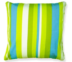 "Green-Blue Stripped Modern Outdoor Modern Pillow - 24"" x 24"""