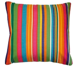 "Multi-Color bright Stripped Modern Outdoor Pillow - 24"" x 24"""