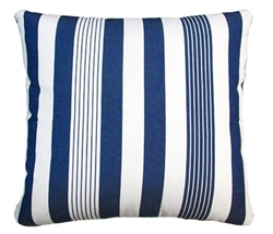 "Modern Pillows - Navy Blue & Off White Stripped Modern Outdoor Modern Pillow - 24"" x 24"" - mh2g"