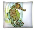 "Green Seahorse Modern* Outdoor Modern* Pillow- 18"" x 18"""
