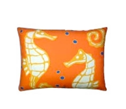 "Orange Seahorse Modern Outdoor Modern Pillow - 19"" x 24"""