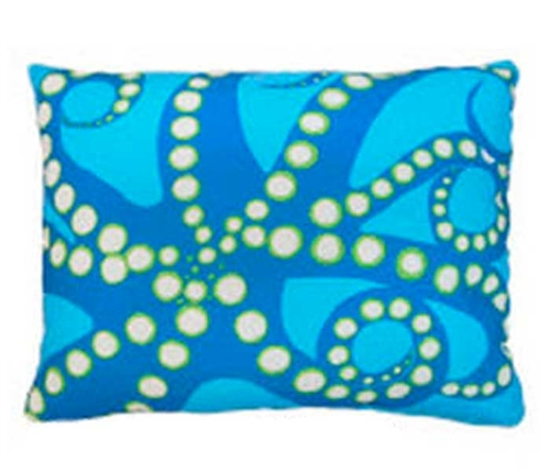 "Blue Octopus Modern Pillow 18"" x 18"""
